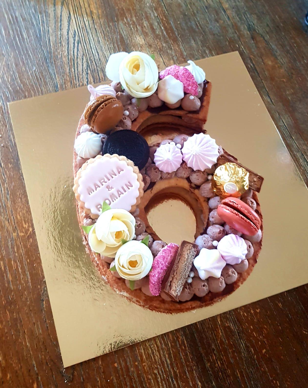 Number cake 6 ans Anniversaire de mariage