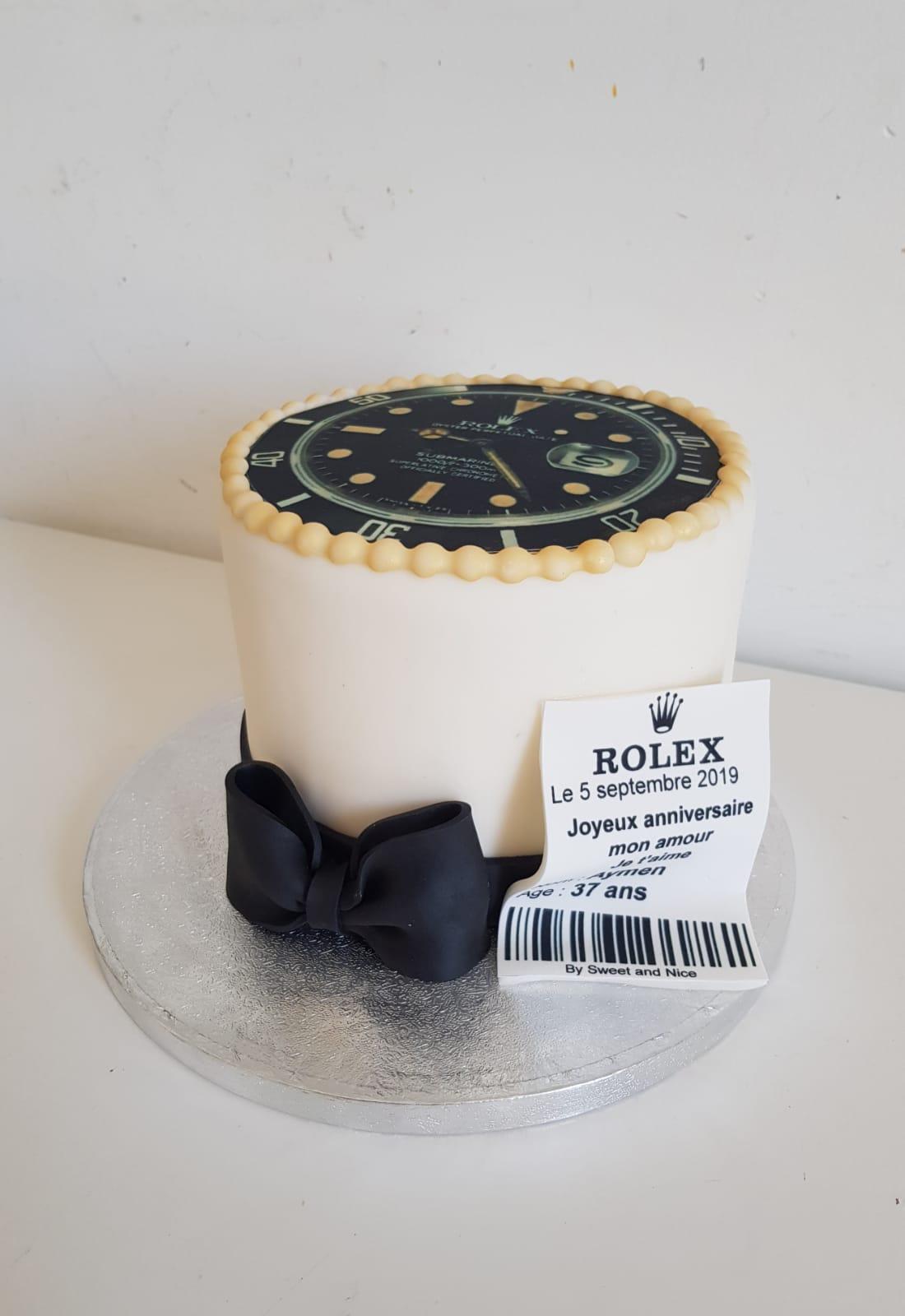 Gâteau en forme de montre Rolex design