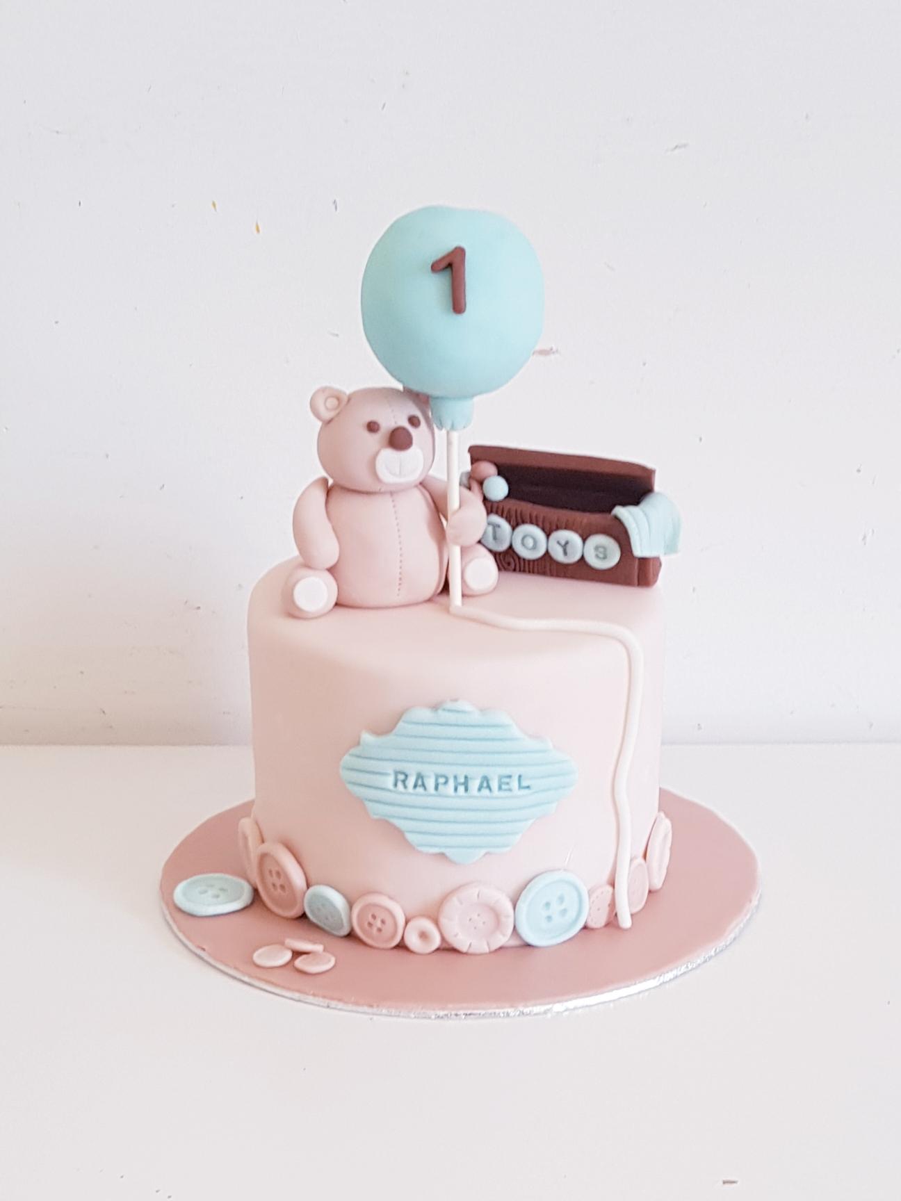 Gâteau anniversaire pour 1 an rose et bleu