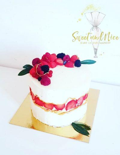 Gâteau d'anniversaire décoration fruits des bois