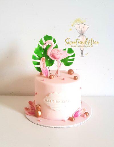 Gâteau de mariage flamant rose baby shower